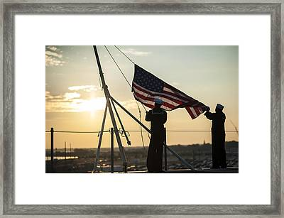 Sailors Raise The Ensign Us Navy Framed Print by Celestial Images