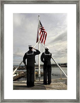 Sailors Raise The National Ensign Framed Print by Stocktrek Images