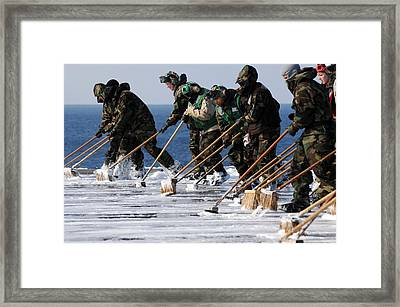 Sailors Scrub The Flight Deck Framed Print by Everett