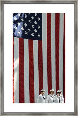 Sailors Stand In Front Of The American Framed Print