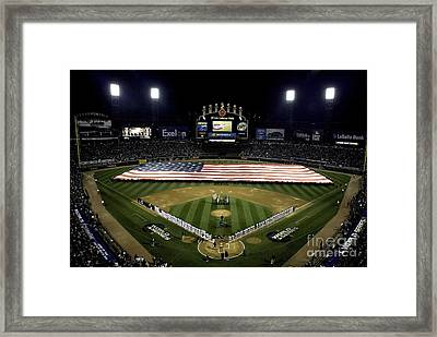 Sailors Unfurl The Stars And Stripes Framed Print by Stocktrek Images