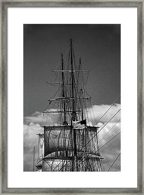 Sails And Mast Riggings On A Tall Ship In Black And White Framed Print by Randall Nyhof