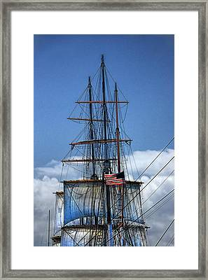 Sails And Mast Riggings On A Tall Ship With American Flag Framed Print by Randall Nyhof