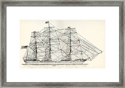 Sails And Rigging Of A Mid-19th Century Framed Print by Vintage Design Pics