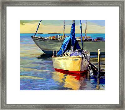 Framed Print featuring the painting Sails At Rest by David  Van Hulst