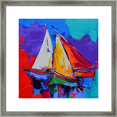 Framed Print featuring the painting Sails Colors by Elise Palmigiani
