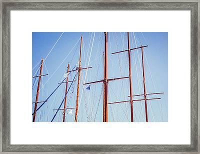 Sails In Santorini Framed Print by Matti Ollikainen