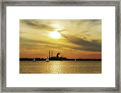 Sails In The Sunset Framed Print