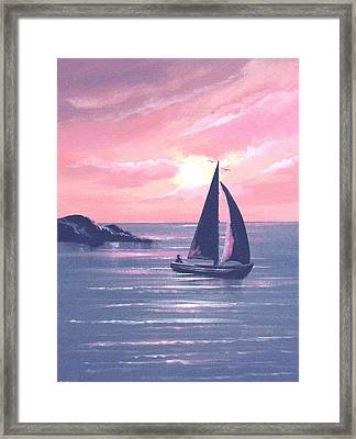 Sails In The Sunset Framed Print by Cathal O malley