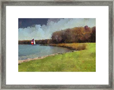 Sails On Lake Wampum Framed Print