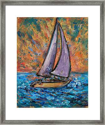 Framed Print featuring the painting Sails Up by Xueling Zou
