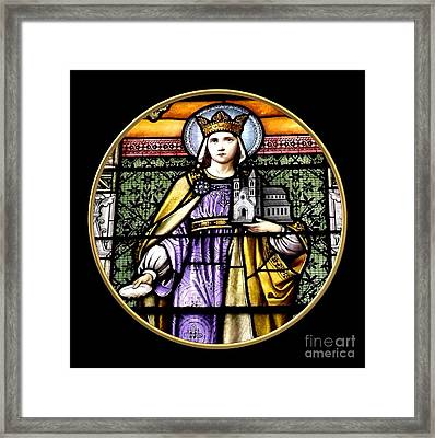 Saint Adelaide Stained Glass Window In The Round Framed Print