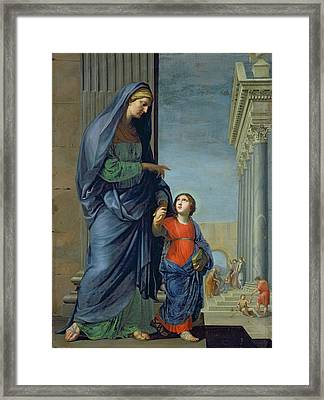 Saint Anne Leading The Virgin To The Temple Framed Print by Jacques Stella