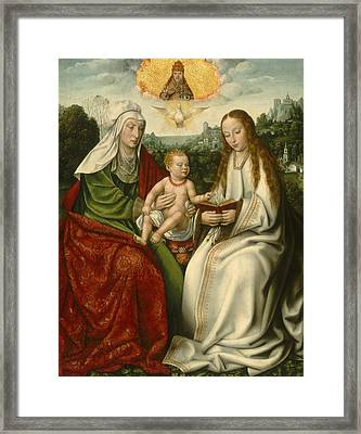 Saint Anne With The Virgin And The Christ Child Framed Print by Master Of Frankfurt