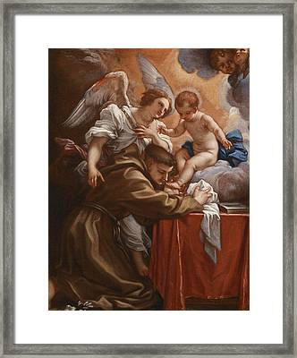 Saint Anthony Of Padua With The Christ Child Framed Print by Follower of Carlo Maratta