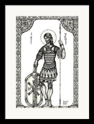 Icon Byzantine Drawings Framed Prints