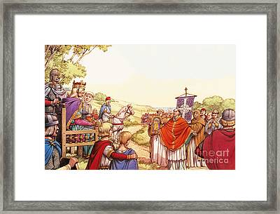 Saint Augustine Arriving In England Framed Print by Pat Nicolle