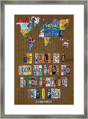 Saint Augustine Travel Quote Recycled Vintage License Plate Letter Word Art Framed Print