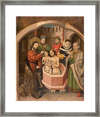 Saint Bartholomew Baptising Framed Print by Master of Saint Bartholomew
