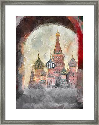 Saint Basil View At Entering Red Square  Framed Print by Yury Malkov