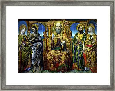Saint Benedict Framed Print by Giovanni Mazone