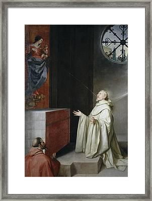 Saint Bernard And The Virgin Framed Print by Alonzo Cano