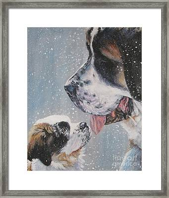 Saint Bernard Dad And Pup Framed Print by Lee Ann Shepard