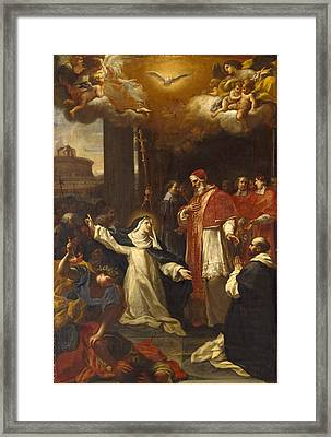 Saint Catherine Trying To Persuade The Pope To Move From Avignon To Rome Framed Print by Marco Benefial