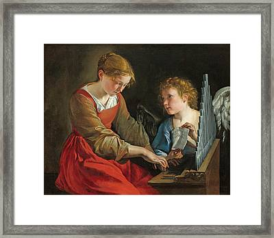 Saint Cecilia And An Angel Framed Print