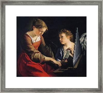 Saint Cecilia With An Angel Framed Print