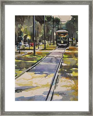 Saint Charles Street Trolley Framed Print by Spencer Meagher