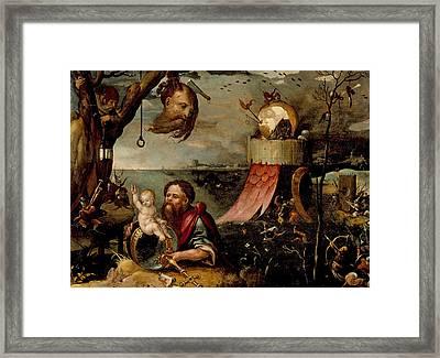 Saint Christopher And The Christ Child Framed Print by Jan Mandijn