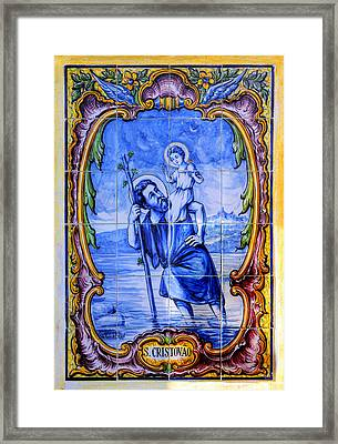 Saint Christopher Carrying The Christ Child Across The River - Near Entrance To The Carmel Mission Framed Print