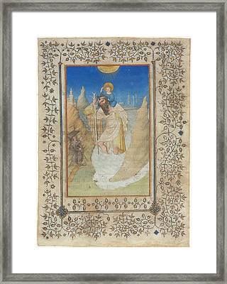 Saint Christopher Carrying The Christ Child Framed Print by Limbourg Brothers