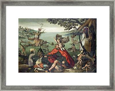 Saint Christopher Carrying The Christ Child Through A Sinful World Framed Print by Follower of Pieter Huys