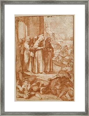 Saint Clare Repulsing The Saracens From Assisi Framed Print