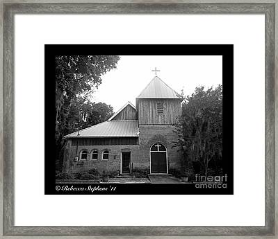 Saint Cyprians Episcopal Church Black And White Framed Print by Rebecca Stephens