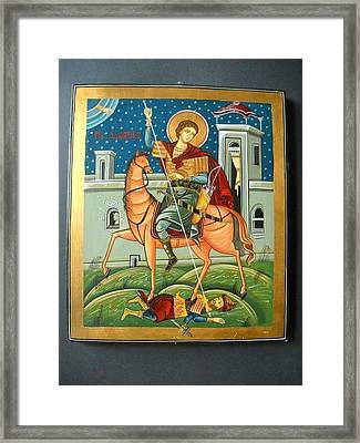 Saint Demeter St. Demetrios St. Dmitry Hand Painted Orthodox Holy Icon Framed Print by Denise Clemenco