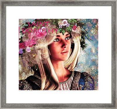 Framed Print featuring the painting Saint Dorothy Of Caesarea Winter Vision by Suzanne Silvir