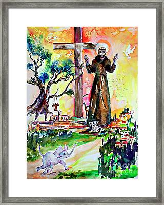 Saint Francis Of Assisi Christian Symbolism Framed Print by Ginette Callaway