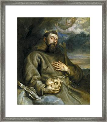 Saint Francis Of Assisi In Ecstasy Framed Print by Anthony van Dyck