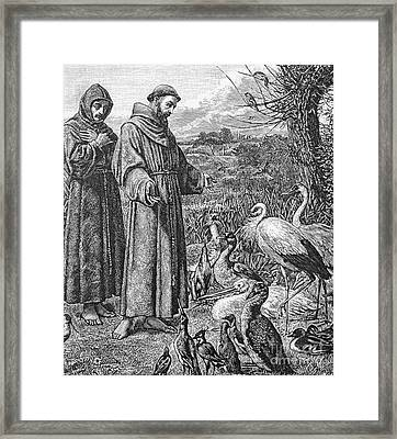Saint Francis Of Assisi Preaching To The Birds Framed Print by English School