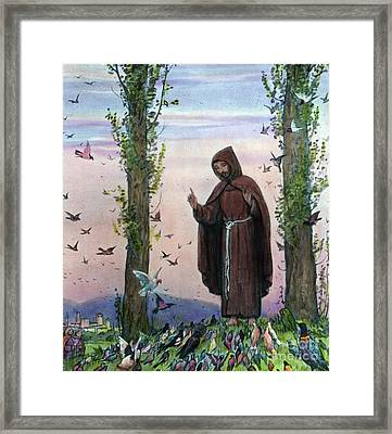 Saint Francis Of Assisi Preaching To The Birds Framed Print by German School