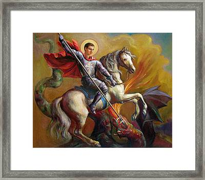 Saint George And The Dragon Framed Print by Svitozar Nenyuk