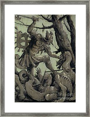 Saint George Fighting The Dragon Framed Print