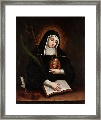 Saint Gertrude Framed Print by Miguel Cabrera