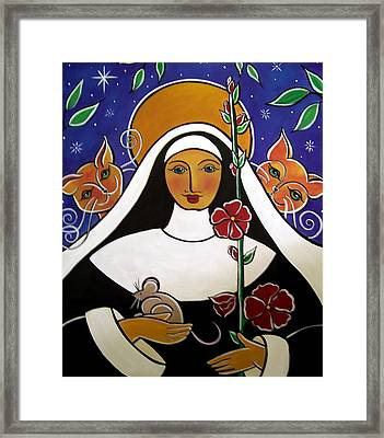 Saint Gertrude Of Nivelles Framed Print