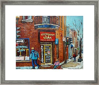 Saint Henri Street In Winter Framed Print by Carole Spandau