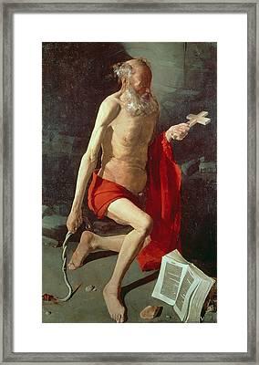 Saint Jerome Framed Print by Georges de la Tour