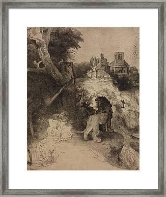 Saint Jerome In An Italian Landscape Framed Print